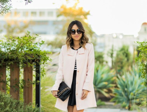 petite fashion blog, lace and locks, los angeles fashion blogger, oc fashion blogger, pink bow coat, lady coat, morning lavender coat, femnine fashion