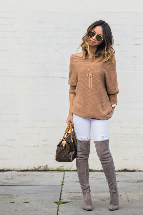petite fashion blog, lace and locks, los angeles fashion blogger, oc fashion blogger, off the shoulder sweater, morning lavender boutique, feminine fashion, cute sweaters for women, stuart weitzman highland boots, over the knee boots