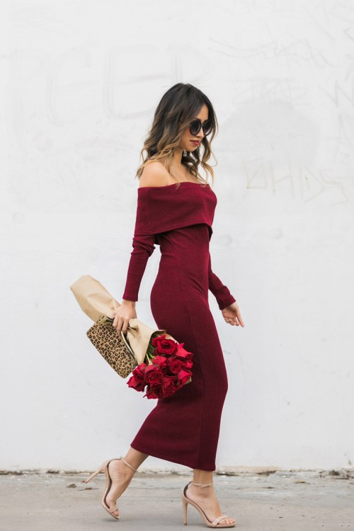 petite fashion blog, lace and locks, los angeles fashion blogger, oc fashion blogger, off the shoulder sweater dress, valentine inspiration, valentine's day outfit