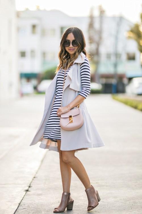 petite fashion blog, lace and locks, LA fashion blogger, oc fashion blogger, striped dress, spring transition outfits, morning lavender, feminine fashion