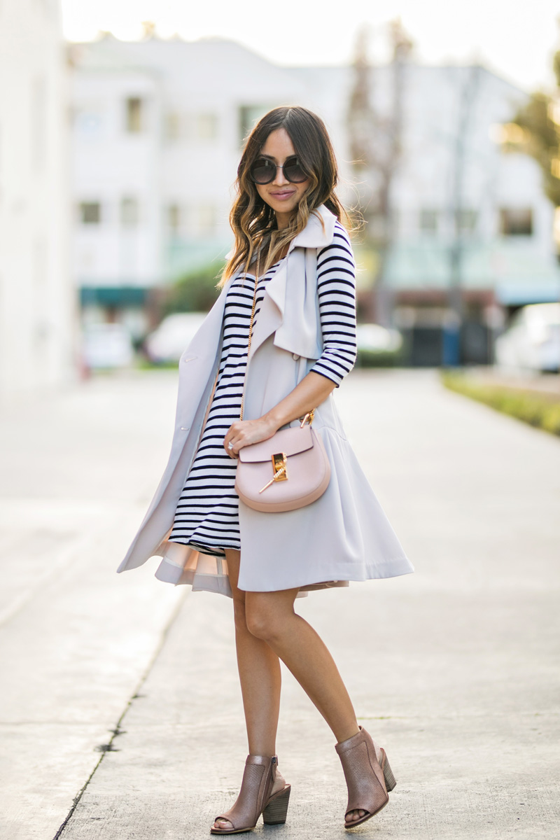 petite fashion blog, lace and locks, LA fashion blogger, oc fashion blogger, striped dress, spring transition outfits, morning lavender, feminine fashion