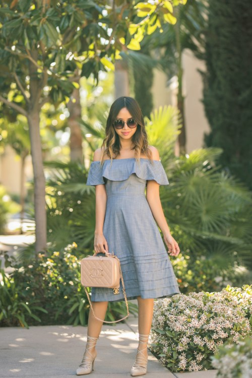 petite fashion blog, lace and locks, los angeles fashion blogger, oc fashion blogger, off the shoulder dress, mgemi shoes, spring outfit, chanel vanity handbag, cute dress for women