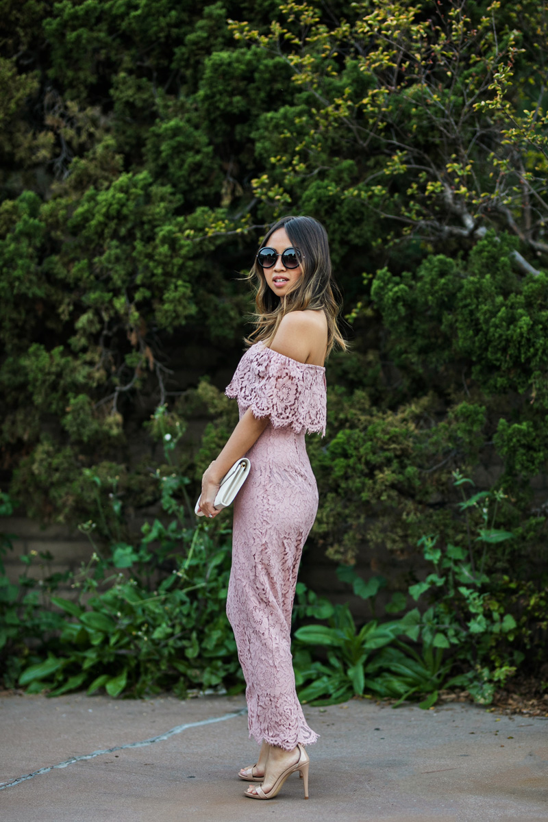 petite fashion blog, lace and locks, los angeles fashion blogger, oc fashion blogger, off the shoulder dress, lace midi dress, asos dress, cute lace dress