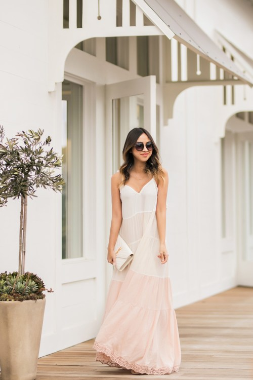 lace and locks, petite fashion blogger, spring trends, nordstrom spring, colorblock maxi dress, cute mules, cute maxi dress