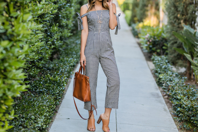 lace and locks, petite fashion blogger, spring trends, gingham jumpsuit, spring gingham, los angeles blogger, oc blogger, cute mules
