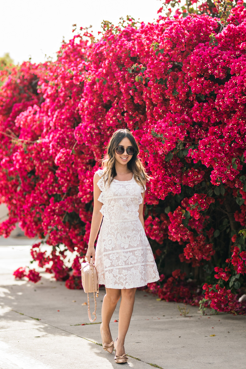 petite fashion blog, lace and locks, LA fashion blogger, oc fashion blogger, white lace dress, chicwish dress, spring dress, morning lavender, chanel vanity bag