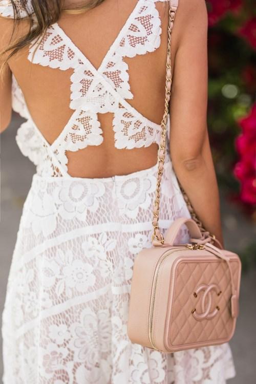 petite fashion blog, lace and locks, LA fashion blogger, oc fashion blogger, white lace dress, chicwish dress, spring dress, morning lavender, chanel vanity bag