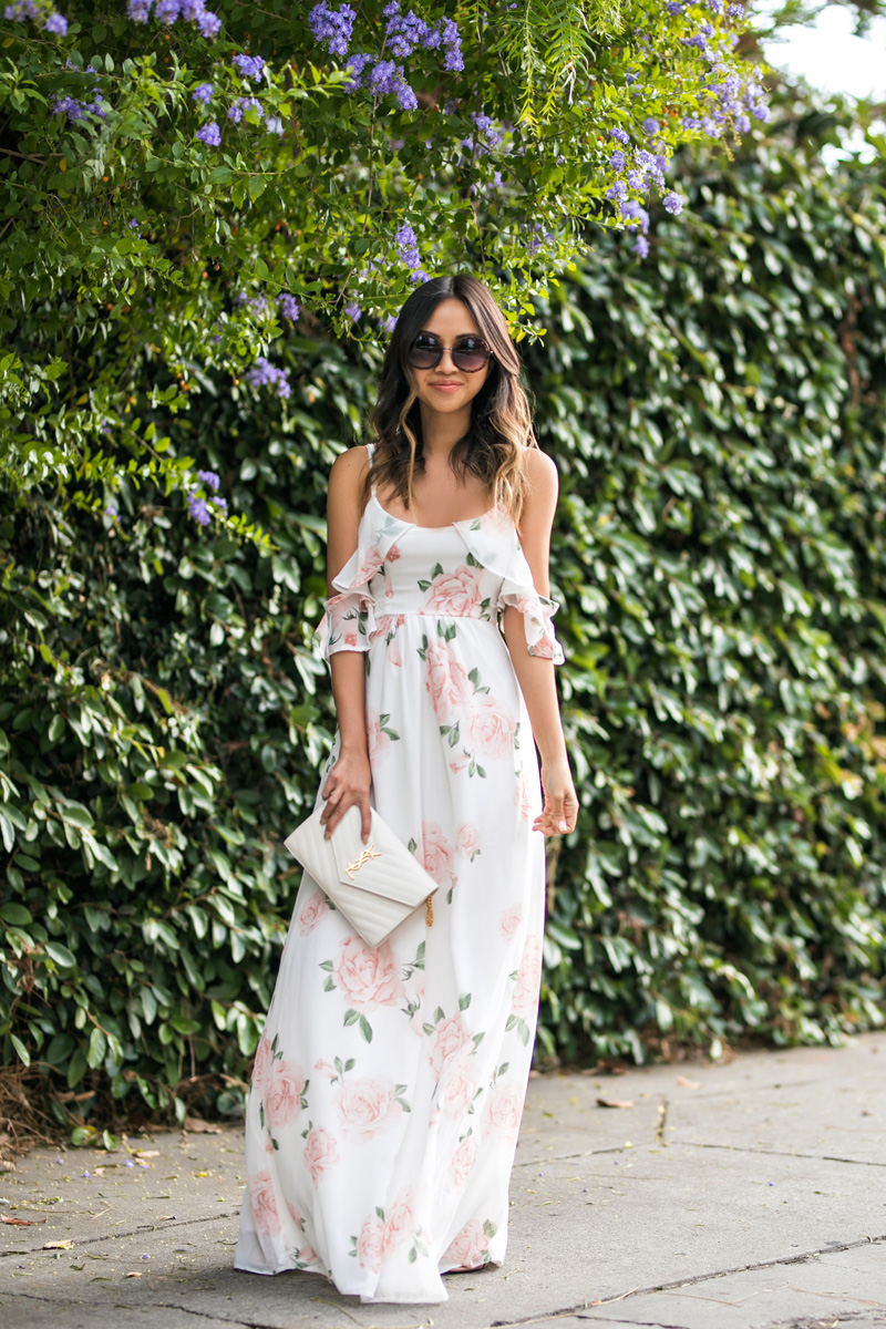 petite fashion blog, lace and locks, LA fashion blogger, orange county fashion blogger, floral maxi dress, cold shoulder dress, asos maxi dress, cute spring maxi