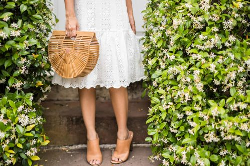 lace and locks, petite fashion blogger, oc fashion blogger, eyelet skirt, cute spring outfit, cult gaia ark bag, cute mules, cute spring look, jcrew spring
