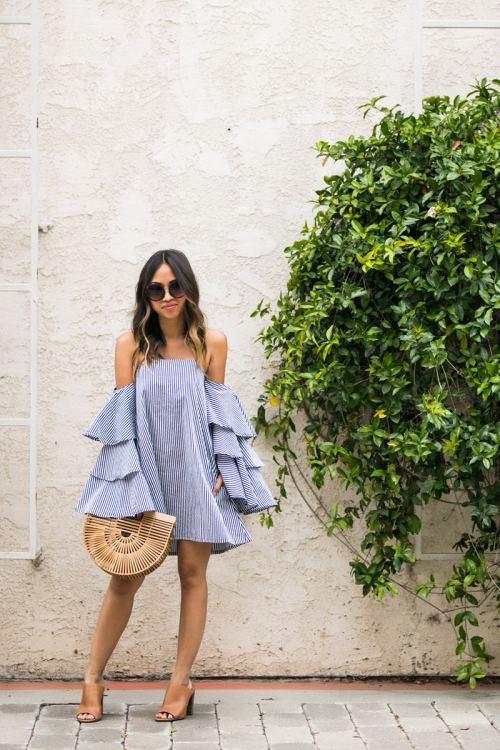 lace and locks, petite fashion blogger, orange county fashion blogger, stripe dress, cute spring outfit, cult gaia ark bag, ruffle dress, cute spring look