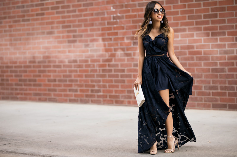 petite fashion blog, lace and locks, LA fashion blogger, orange county fashion blogger, ruffle maxi jumpsuit, wedding guest dress, bauble earrings