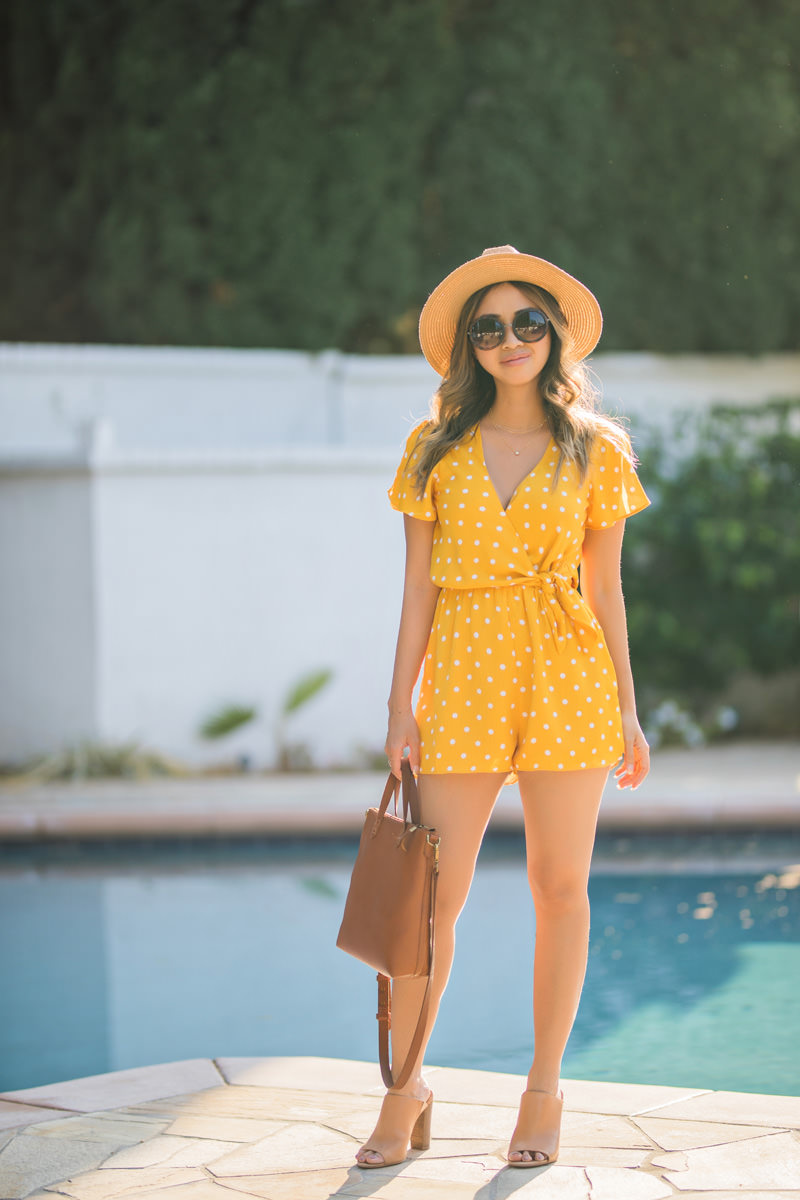 petite fashion blog, lace and locks, LA fashion blogger, orange county fashion blogger, yellow romper, cute rompers for women, summer outfit, summer romper