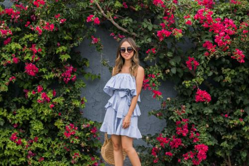 lace and locks, petite fashion blogger, morning lavender dress, striped ruffle dress, summer ruffle dress, straw circle bag, cute dresses, orange county blogger