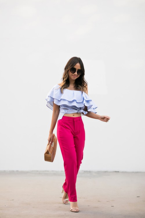 lace and locks, petite fashion blogger, banana republic pants, pink pants, striped ruffle top, cute pants look, orange county fashion blogger, la fashion blog