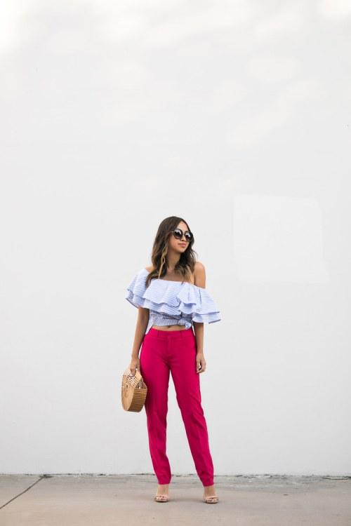 lace and locks, petite fashion blogger, banana republic pants, pink pants, striped ruffle top, cute pants look, orange county fashion blogger, la fashion blog
