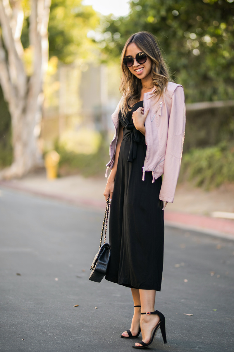 lace and locks, petite fashion blogger, black jumpsuit, nordstrom fall fashion, olive jacket, fall transitional outfit, cute fall look, orange county blogger
