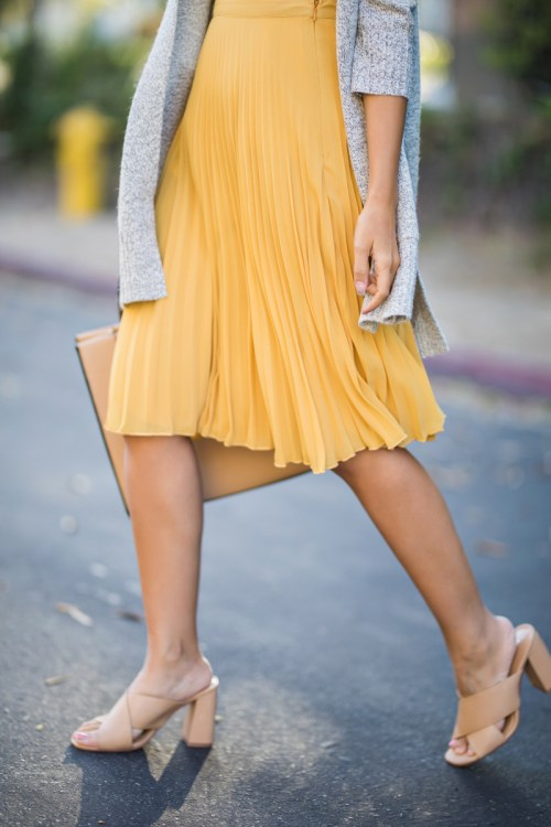 lace and locks, petite fashion blogger, lace midi dress, yellow pleated midi skirt, petite skirts, morning lavender skirt, fall skirts, orange county blogger