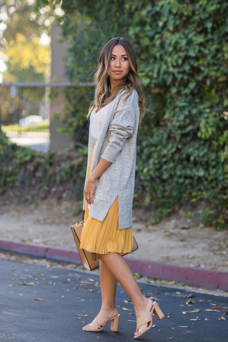 lace and locks, petite fashion blogger, lace midi dress, yellow pleated midi skirt, petite skirts, morning lavender skirt, fall skirts, orange county blogger