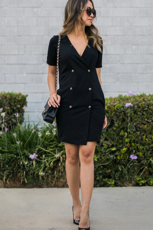 ace and locks, petite fashion blogger, asos office, women office wear, black tux dress, asos work dress, orange county fashion blog, los angeles fashion blog