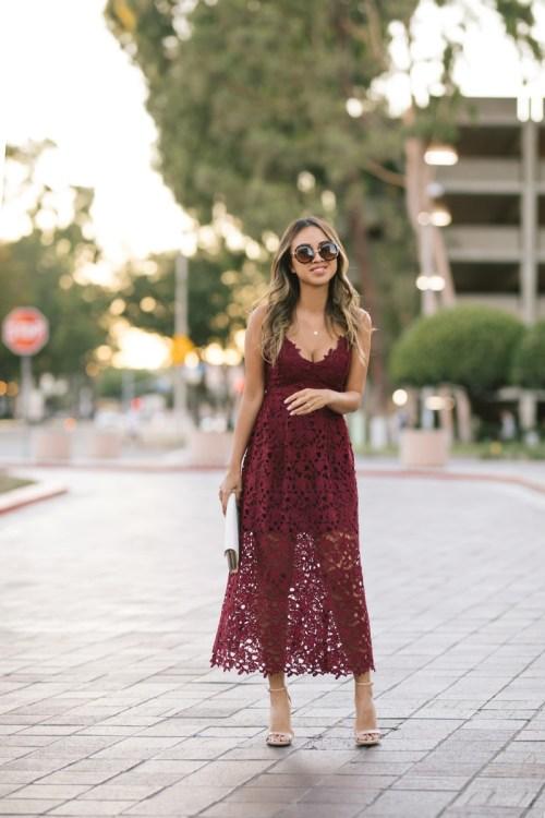 lace and locks, petite fashion blogger, lace midi dress, nordstrom fall fashion, fall wedding dress, burgundy dress, orange county blogger, nordstrom dress