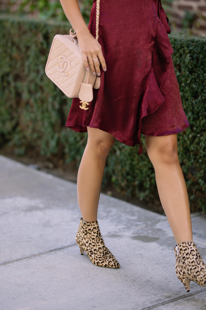 lace and locks, petite fashion blogger, polka dot dress, nordstrom fall fashion, nordstrom shoes, leopard boots, cute fall look, orange county blogger