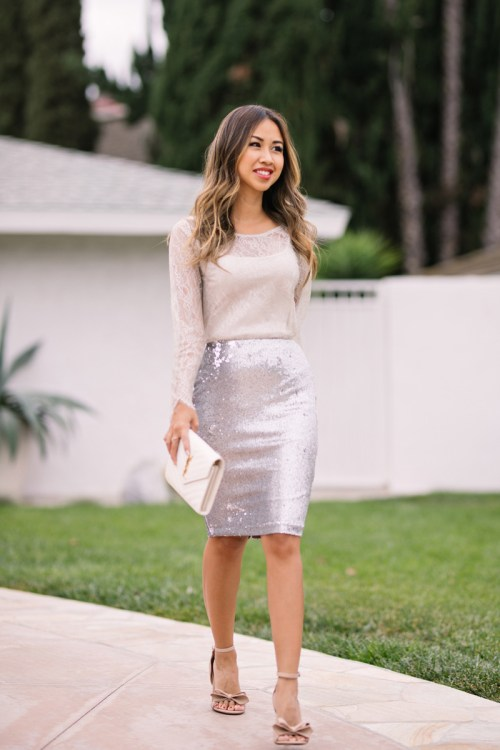 lace and locks, petite fashion blogger, holiday outfit ideas, sequin skirt, whbm petite, holiday skirts, lace top, orange county blogger