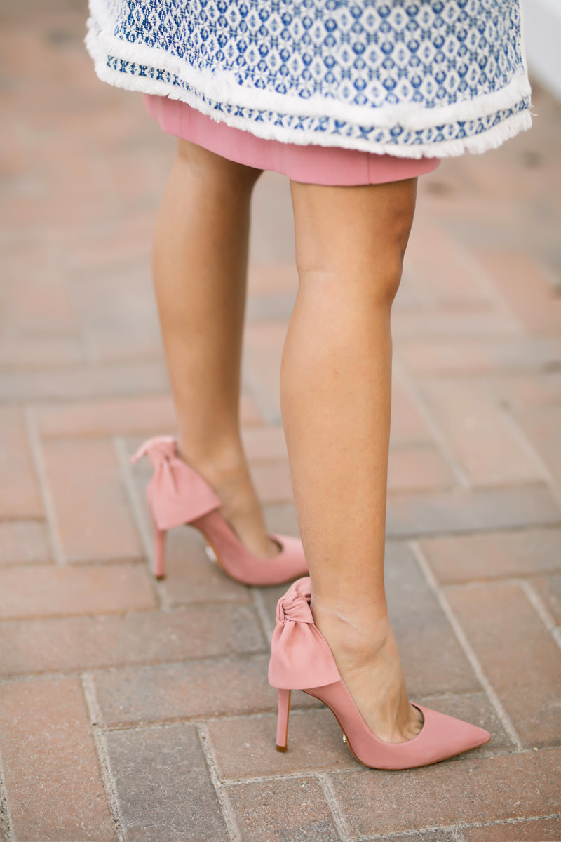 lace and locks, petite fashion blogger, pink bell sleeve dress, ann taylor petite dress, bow heels, pink heels, orange county fashion blogger