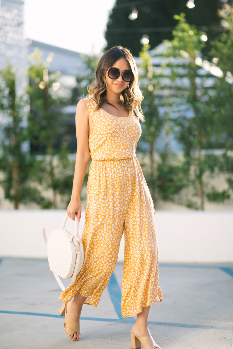Morning Lavender Yellow Floral Jumpsuit