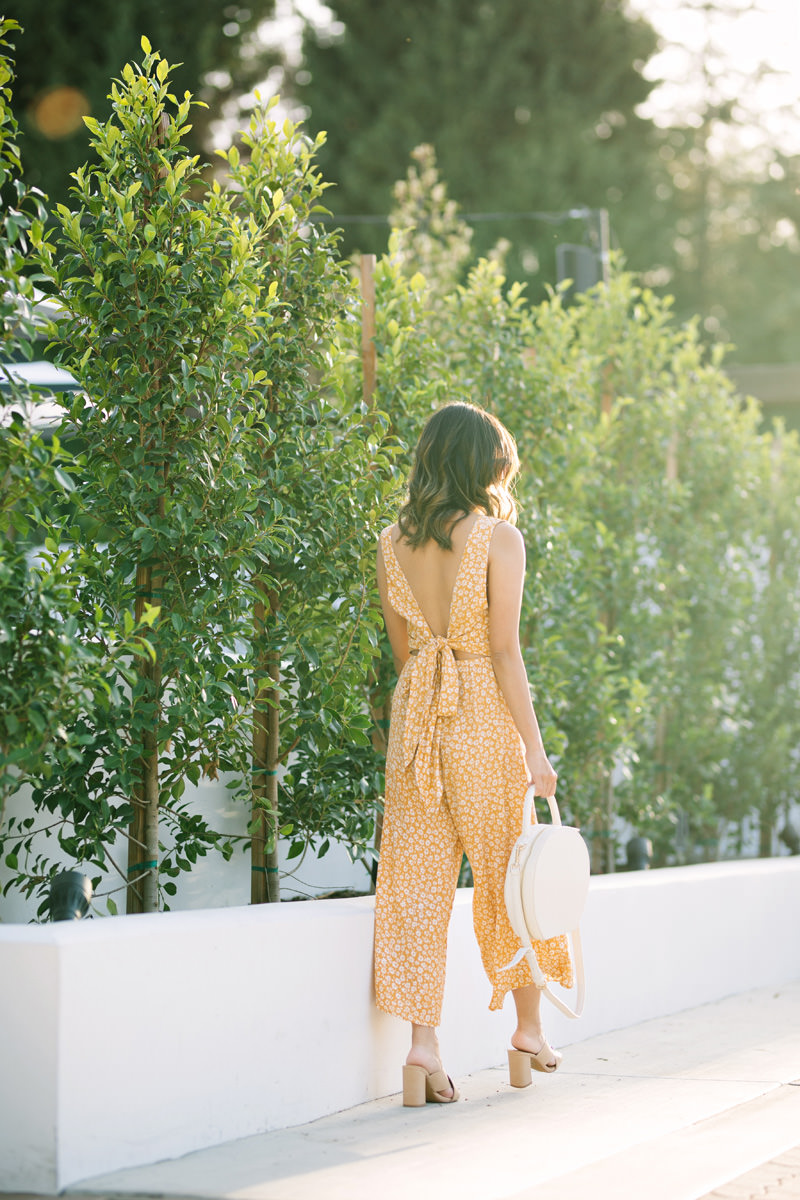 Morning Lavender Yellow Bow Tie Back Jumpsuit