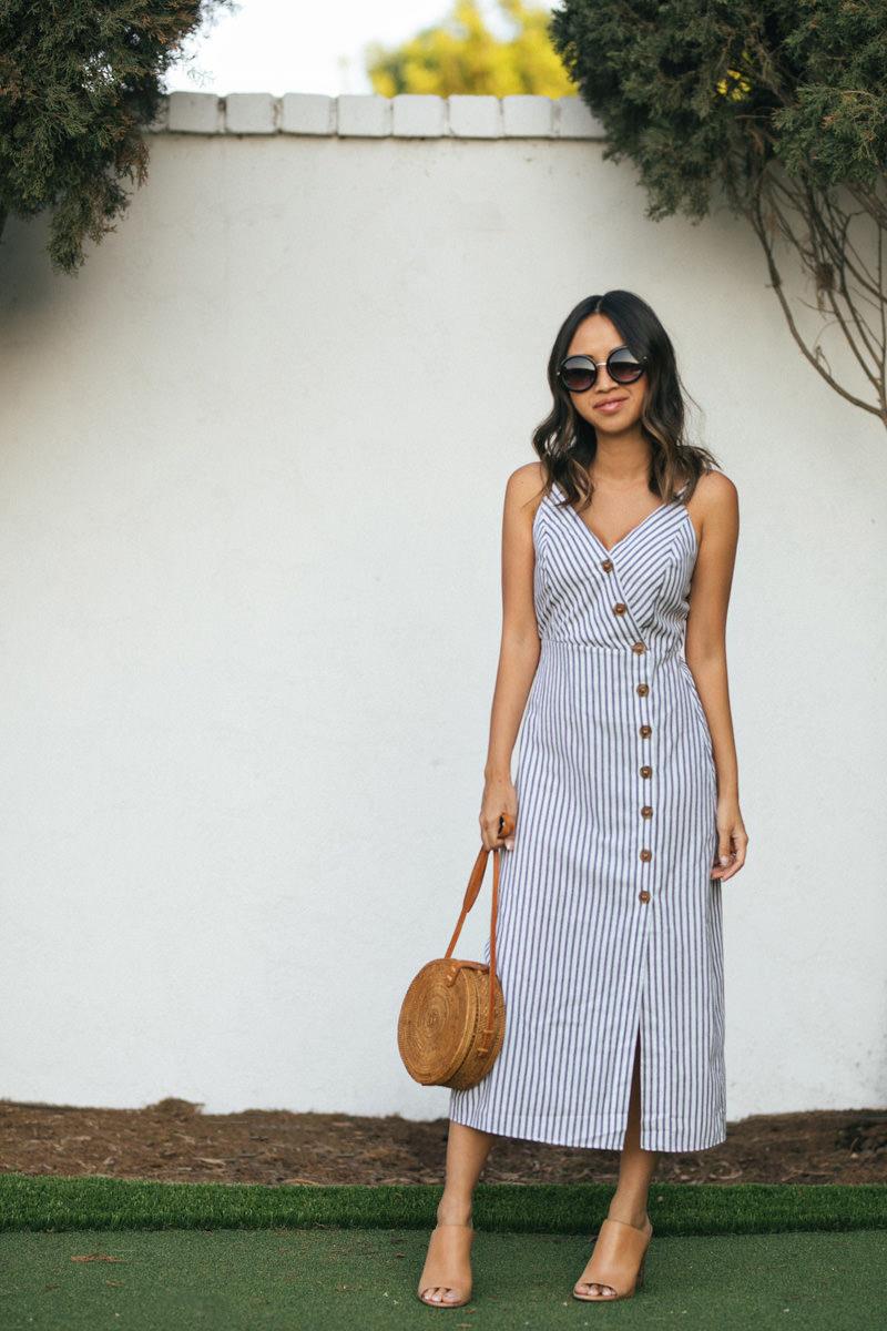 Morning Lavender Stripe Button Down Dress