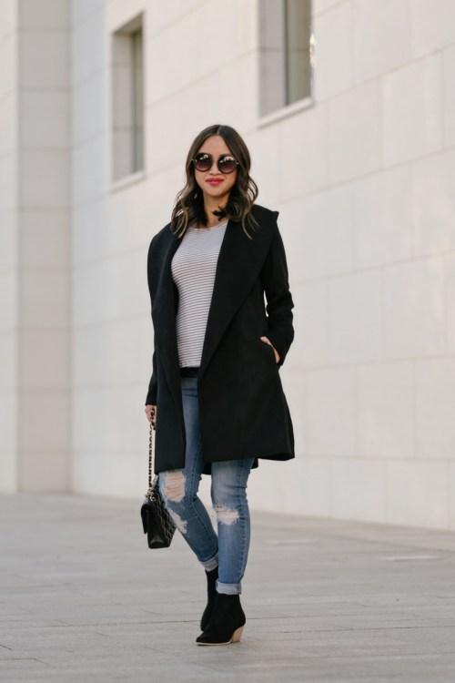lace and locks petite fashion blogger, black booties, chanel medium classic, ann taylor black coat, winter fashion