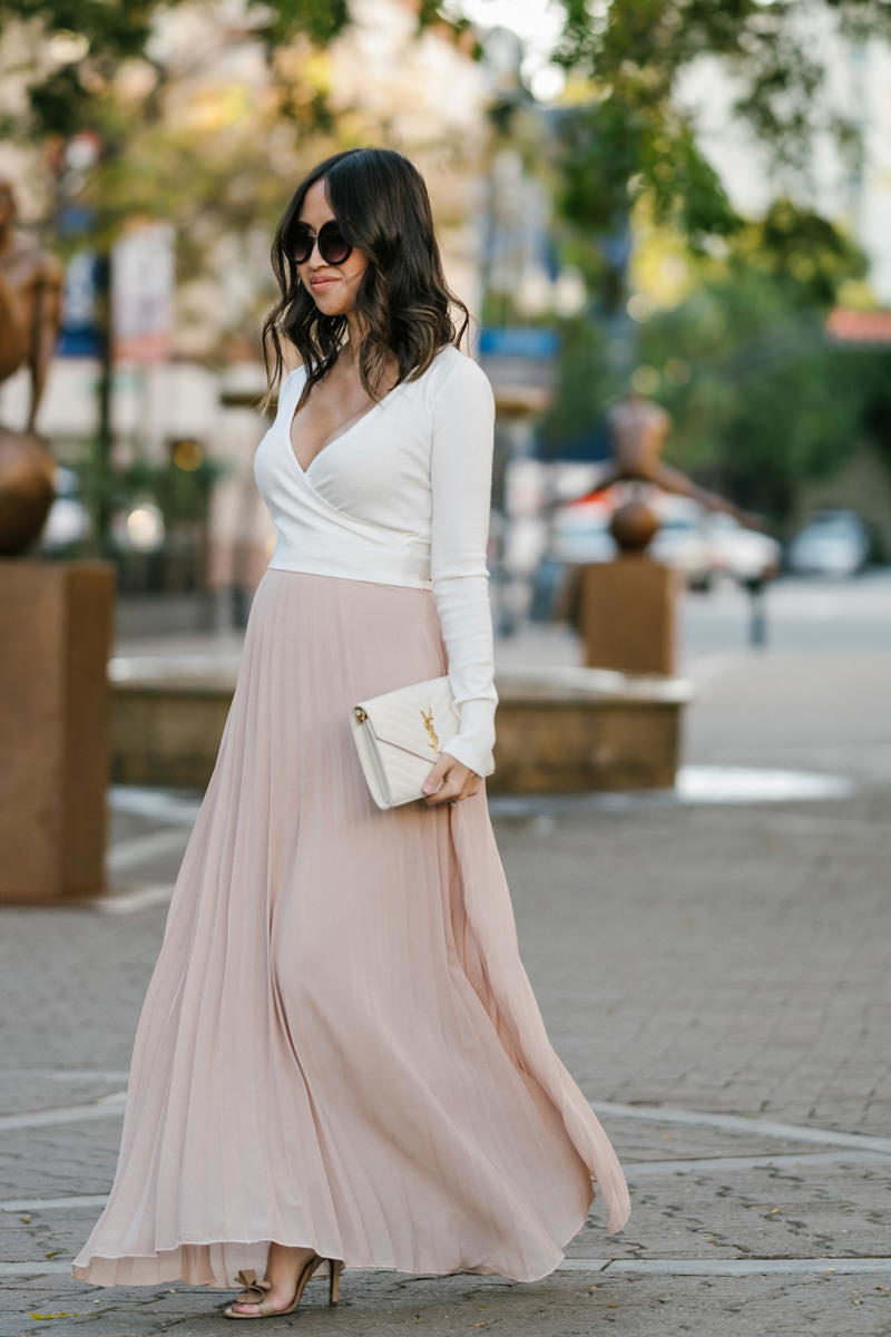 morning lavender pleated maxi skirt