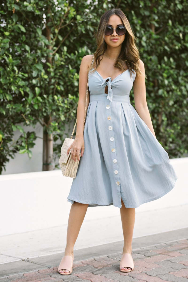 morning lavender summer blue dress
