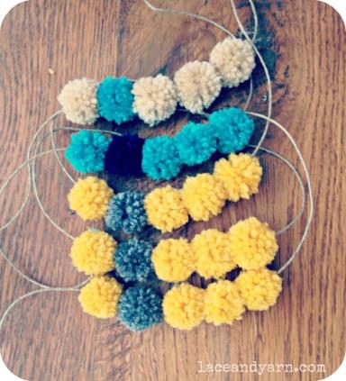 yarn pom pom necklace