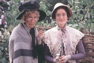 Phillyda Law and Sophie Thompson as Mrs. and Miss Bates