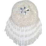5'' - 12.7 cm - Beaded & Sequin White Circle Cup Applique5'' - 12.7 cm - Beaded & Sequin White Circle Cup Applique