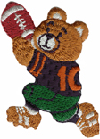 1 1/2'' by 2 1/8'' Iron On FootBall Bear Applique1 1/2'' by 2 1/8'' Iron On FootBall Bear Applique