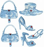 7 Piece Iron On Applique Set - Blue7 Piece Iron On Applique Set - Blue