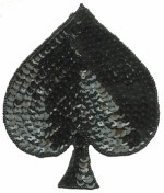 4'' by 4 7/8'' Beaded & Sequined Spade Applique - Black4'' by 4 7/8'' Beaded & Sequined Spade Applique - Black