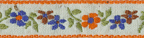 1/2'' Floral Print Embroidered Ribbon with Orange Edge1/2'' Floral Print Embroidered Ribbon with Orange Edge