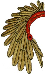 2 7/8'' by 4 1/2'' Indian Headdress Applique2 7/8'' by 4 1/2'' Indian Headdress Applique