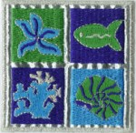 2 5/8'' - 6.7cm - Nautical Square Iron On Applique - 4 Styles2 5/8'' - 6.7cm - Nautical Square Iron On Applique - 4 Styles