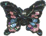2'' by 2 5/8'' - Beaded Sequined Butterfly Applique with Pin on Back - 3 Colors2'' by 2 5/8'' - Beaded Sequined Butterfly Applique with Pin on Back - 3 Colors