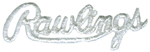 1 1/2'' by 1 /2'' Iron On White Rawlings Applique1 1/2'' by 1 /2'' Iron On White Rawlings Applique