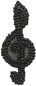 2'' by 7/8'' Beaded Black Musical Note Applique2'' by 7/8'' Beaded Black Musical Note Applique