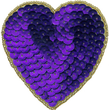 """Purple/Gold  3"""" Pin Back Beaded/Sequin Heart Appliques"""