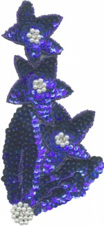 3 1/4'' by 6 3/4'' Royal Blue Beaded & Sequined Applique3 1/4'' by 6 3/4'' Royal Blue Beaded & Sequined Applique