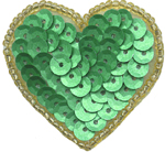 1 1/2'' by 1 1/2'' Beaded & Sequined Heart with Pin on Back - 3 Colors1 1/2'' by 1 1/2'' Beaded & Sequined Heart with Pin on Back - 3 Colors