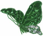 4 3/4'' by 4'' Emerald Green/Silver Beaded & Sequined Butterfly Applique4 3/4'' by 4'' Emerald Green/Silver Beaded & Sequined Butterfly Applique