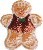 6 3/4'' by 5 3/4'' Orange Gingerbread Man with Red Vest Beaded & Sequined Applique6 3/4'' by 5 3/4'' Orange Gingerbread Man with Red Vest Beaded & Sequined Applique